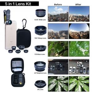 SWISS GO kit lenti 5 in 1 universale per smartphone e tablet - Fisheye Grandangolo Macro Zoom2x lente polarizzata
