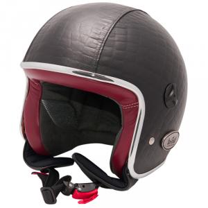BARUFFALDI ZEON VINTAGE CROCCO Jet Helmet - Black with Red interior