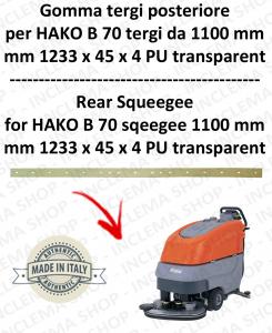 B 70 ( suceur long 1100 mm) Bavette ARRIERE pour autolaveuses  HAKO