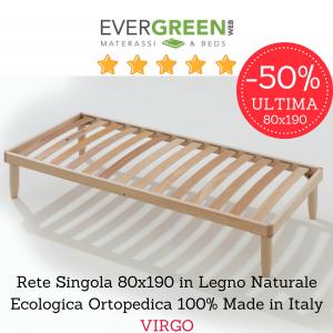 Rete Singola 80x190 in Legno Naturale Ortopedica Ecologica 100% Made in Italy