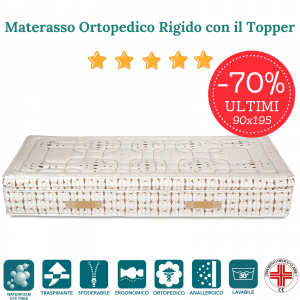 Materasso Singolo 90x195 Ortopedico Rigido in Waterfoam HR con Topper alto 30 cm tessuto Sfoderabile 4 Lati Anallergico ULTIMI 5