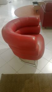 Hoffmann armchair covered in red leather