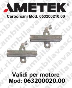COPPIA di Carboncini motor de aspiración para motori Ametek  063200020.00 -  2 x Cod: 053200210.00
