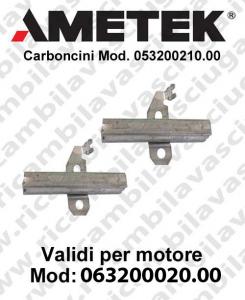 Couple du Carbon moteur aspiration pour motori Ametek  063200020.00 -  2 x Cod: 053200210.00