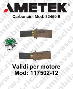 Coupled carbon brush motor for vacuum motor LAMB AMETEK 117502-12 2 x cod. N33450-6