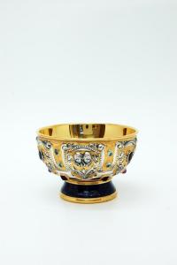 Pisside in argento dorato, lapislazzuli e pietre dure