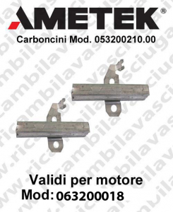 COPPIA di Carboncini motor de aspiración para motori Ametek  063200018 -  2 x Cod: 053200210.00-2