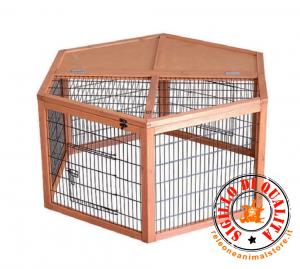 Recinto Baby in legno Run hexagonal  per cuccioli, cani, gatti, roditori, esagonale