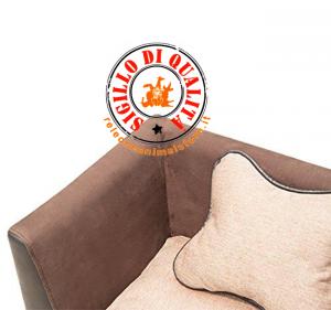 Divano in ecopelle marrone e tessuto Mr. Dog Cani e Gatti 68,5x42x43H