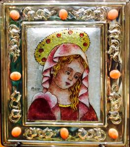 Icona volto di Maria in argento e smalto a gran fuoco