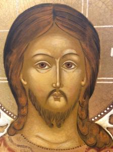 Icona russa dipinta Gesù Cristo Pantocratore 26,5 x 23 cm
