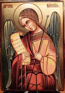 Icona rumena dipinta Arcangelo Michele 10x14 cm