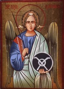 Icona rumena dipinta Arcangelo Raffaele 10x14 cm