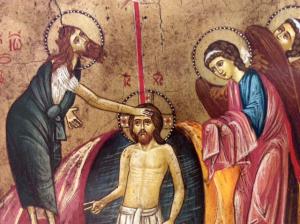Icona rumena dipinta Battesimo di Gesù 22x18 cm