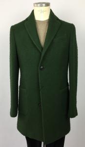 Cappotto uomo Locorotondo, verde, 2 bottoni, 1 spacco, tasche a toppa