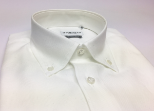 Camicia uomo 100% cotone, slim fit, collo botton down, OXFORD BIANCO