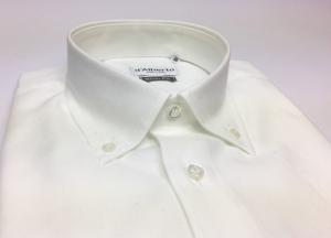 Camicia uomo 100% cotone, slim fit, collo botton down, OXFORD BIANCO