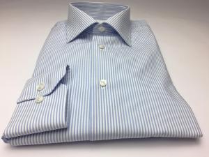 Camicia uomo 100% cotone, slim fit, collo francese, fil a fil RIGA CELESTE