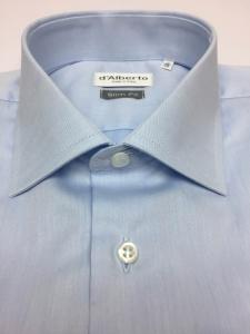 Camicia uomo 100% cotone, slim fit, collo francese, TWILL CELESTE