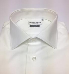 Camicia uomo 100% cotone, slim fit, collo francese, TWILL BIANCO