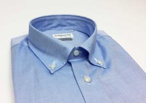 Camicia uomo 100% cotone, slim fit, collo botton down, OXFORD CELESTE