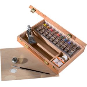 Confezione colori a olio Maimeri Classico in cassetta di legno di faggio