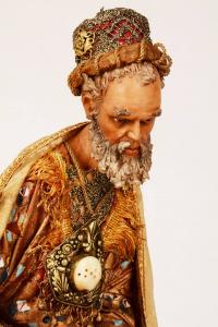 Re magio bianco presepe siciliano Angela Tripi 40 cm terracotta e stoffa