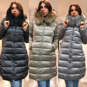 Piumino donna lungo con collo in vera pelliccia | TG S,M,L,XL,XXL