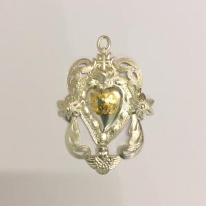 Cuore votivo in metallo 10,5 x 8 cm