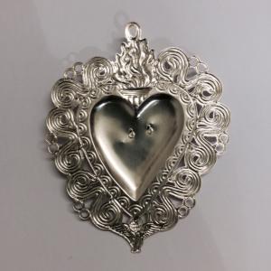 Cuore votivo in metallo 13,5 x 10,5 cm