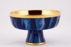 Pisside patena smalto a fuoco blu finitura dorata ELLE-CI49413