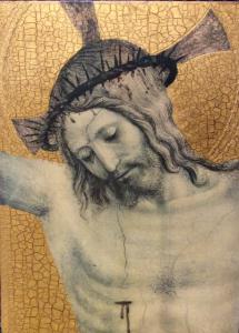 Quadro in legno Cristo su foglia d'oro 27 x 36 cm