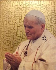Quadro in legno Papa Giovanni Paolo II su foglia d'oro 24 x 30 cm