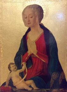Quadro in legno Madonna con bambino su foglia d'oro 27 x 36 cm