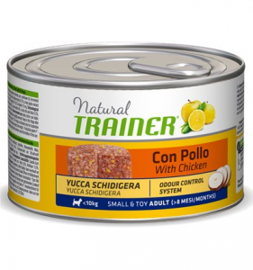 Natural Trainer Adult Small & Toy con Pollo riso ed Aloe umido 150 g