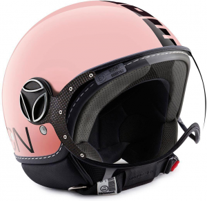Casco jet Momo Design Fighter Classic rosa lucido nero