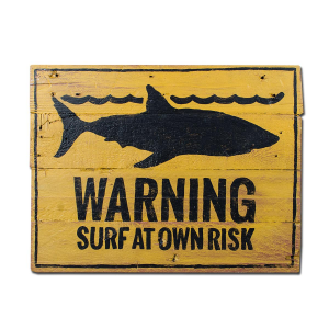 Insegna di legno Berider Warning Surf at Own Risk