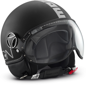 Casco jet Momo Design Fighter Classic nero opaco argento