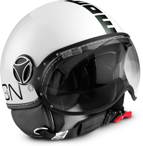 Casco jet Momo Design Fighter Classic bianco lucido nero