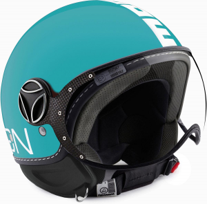 Casco jet Momo Design Fighter Classic blu mare lucido bianco