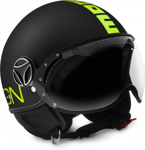 MOMO DESIGN FIGHTER FLUO Casco Jet - Nero Opaco e Giallo Fluo