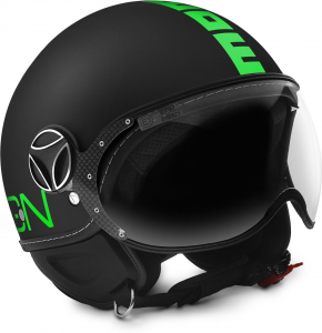 MOMO DESIGN FIGHTER FLUO Casco Jet - Nero Opaco e Verde Fluo