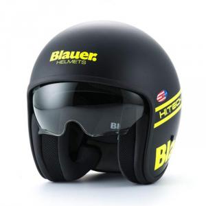 BLAUER PILOT 1.1 Jet Helmet - Matt Black and Yellow Fluo