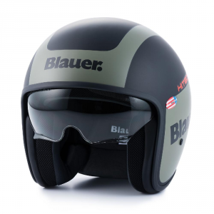 BLAUER PILOT 1.1 Jet Helmet - Matt Black and Green