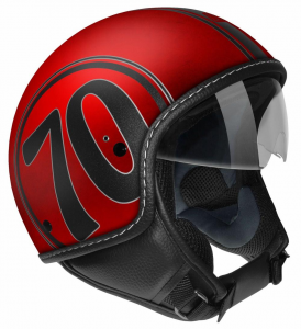 Casco jet Max Mustang Scratch 1970 Rosso Cromo opaco