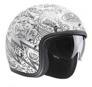 HJC FG 70S MACHU MC10SF Jet Helmet - White and Black