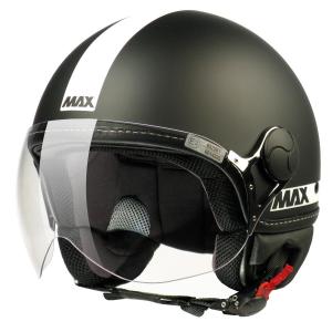 Casco jet Max Power nero opaco bianco