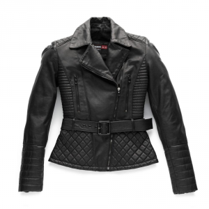 BLAUER TRINITY Woman Motorcycle Leather Jacket - Black