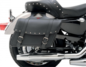 SADDLEMEN 35010091 Highwayman Riveted Large Coppia borse moto laterali in pelle - Nero
