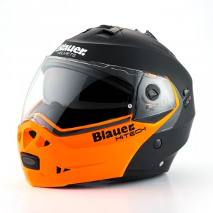 BLAUER SKY Modular Helmet - Matt Black and Orange